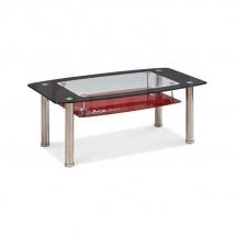 Stolek konferenční kovový skleněný černý/červený TWIST C