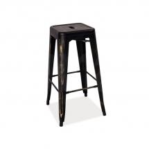 Židle barová černá ocel leštěná LONG
