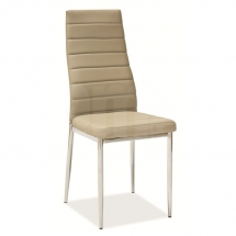 Židle jídelní kovová čalouněná béžová H-261