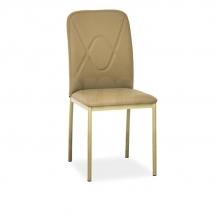 Židle jídelní kovová čalouněná béžová H-623