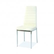 Židle jídelní kovová čalouněná bílá H-261