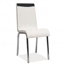 Židle jídelní kovová čalouněná bílá/černá H-161