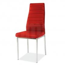 Židle jídelní kovová čalouněná červená H-261