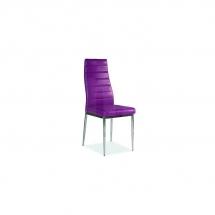Židle jídelní kovová čalouněná fialová H-261