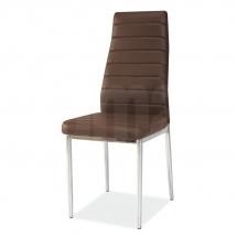 Židle jídelní kovová čalouněná hnědá H-261