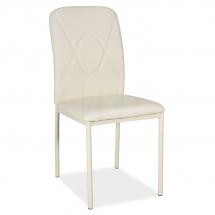 Židle jídelní kovová čalouněná krémová H-623