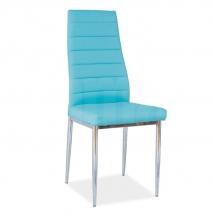 Židle jídelní kovová čalouněná modrá H-261