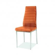 Židle jídelní kovová čalouněná pomerančová H-261