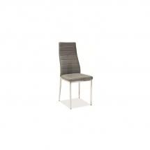 Židle jídelní kovová čalouněná šedá H-261