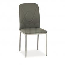Židle jídelní kovová čalouněná šedá H-623