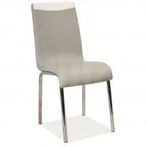 Židle jídelní kovová čalouněná šedá/bílá H-161