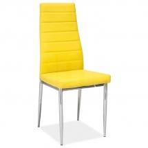 Židle jídelní kovová čalouněná žlutá H-261