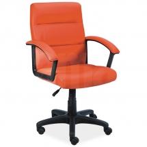 Židle kancelářská ecokůže oranžová Q-094