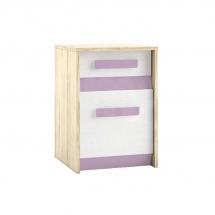 Noční stolek bříza/bílá/fialová BEST 11