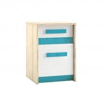 Noční stolek bříza/bílá/modrá BEST 11