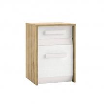 Noční stolek dub/bílá/bílá BEST 11