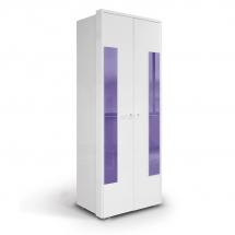 Skříň šatní dvoudvéřová bílá/fialová HAPPY O2V 491929
