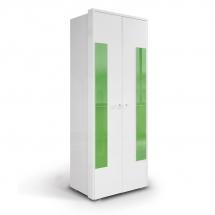 Skříň šatní dvoudvéřová bílá/zelená HAPPY O2V 491918