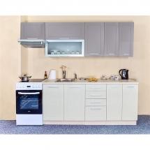 Kuchyňská linka QUANTUM, BÉŽOVÁ/VANILKA 180 + 60 cm (skříňka nad digestoř) - levá. Cena je bez pracovní desky, (+1.150,-) dřezu (+ 1.100,-) a baterie (+500,-).