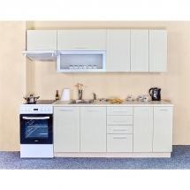 Kuchyňská linka QUANTUM, VANILKA 180 + 60 cm (skříňka nad digestoř) - levá. Cena je bez pracovní desky, (+1.150,-) dřezu (+ 1.100,-) a baterie (+500,-).