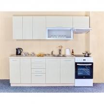 Kuchyňská linka QUANTUM, VANILKA 180 + 60 cm (skříňka nad digestoř) - pravá. Cena je bez pracovní desky, (+1.150,-) dřezu (+ 1.100,-) a baterie (+500,-).