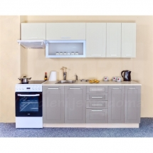Kuchyňská linka QUANTUM, VANILKA/BÉŽOVÁ 180 + 60 cm (skříňka nad digestoř) - levá.                                Cena je bez pracovní desky, (+1.150,-) dřezu (+ 1.100,-) a baterie (+500,-).
