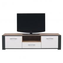 Televizní stolek NAOMI NA/1 - dub sonoma/bílý lesk/lišta grafit