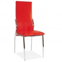 Židle jídelní kovová čalouněná červená H-237