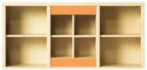 Skříňka závěsná CODI PLUS CD/13 višeň cornvall/oranžová