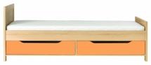 Postel CODI PLUS CD/15 + šuplíky CD/16 višeň cornvall/oranžová