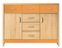 Skříňka/komoda CODI PLUS CD/3 višeň cornvall/oranžová