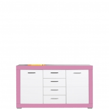 Skříňka/komoda Twin TW/3 bílá/růžová