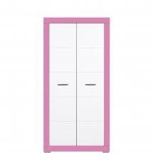 Skříň šatní Twin TW/9 bílá/růžová