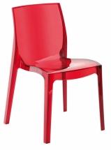 Židle jídelní plastová červená transparentní FEMME FATALE
