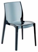 Židle jídelní plastová antracit transparentní FEMME FATALE