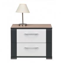 Noční stolek NAOMI NA/14 dub sonoma/bílý lesk/lišta grafit