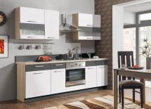 Kuchyň Modena 180-240 rijeka světlá/bílý lesk+grafit matný
